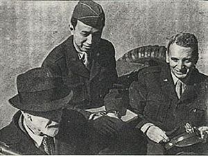 Qian Xuesen - Left to right: Ludwig Prandtl (German scientist),Hsue-Shen Tsien, Theodore von Kármán. Prandtl served Germany during World War II; von Kármán and Tsien served the United States; after 1956, Tsien served China. Tsien's overseas cap displays his temporary U.S. Army rank of colonel. Interestingly, Prandtl was von Kármán's doctoral adviser; von Kármán in turn was Tsien's.