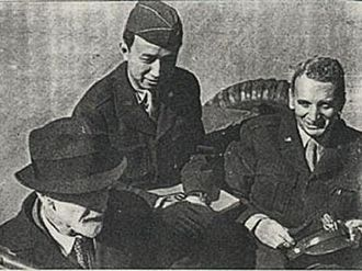 Qian Xuesen - Left to right: Ludwig Prandtl (German scientist), Hsue-Shen Tsien, Theodore von Kármán. Prandtl served Germany during World War II; von Kármán and Tsien served the United States; after 1956, Tsien served China. Tsien's overseas cap displays his temporary U.S. Army rank of colonel. Prandtl was von Kármán's doctoral adviser; von Kármán in turn was Tsien's.