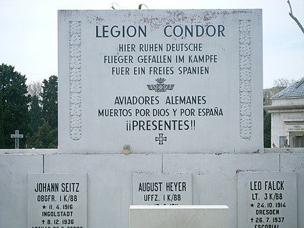 Memorial for the Condor Legion, Almudena-graveyard, Madrid - Condor Legion