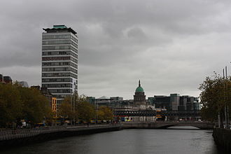 Liberty Hall - Liberty Hall, the headquarters of SIPTU with the Custom House, Butt Bridge and Loopline Bridge in the background