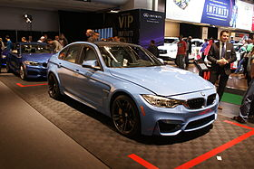 Light blue BMW M3 (F30) fr MIAS14.JPG