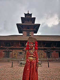 Little girl dressed as Kumari, Mul Chowk, Patan Durbar Square.