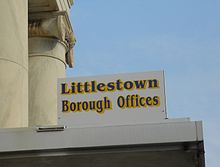 Littlestown borough offices sign.