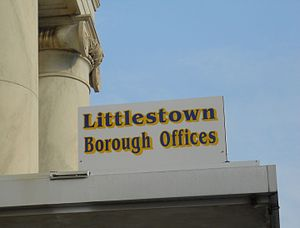 Borough (Pennsylvania) - Image: Littlestown Borough Offices Sign