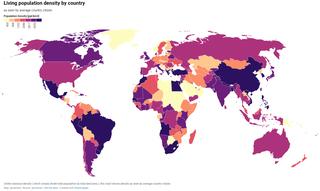 Population density Measurement of population per unit area or unit volume