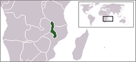 A map showing the location of Malawi