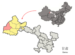 Dunhuang City (red) in Jiuquan City (yellow) and Gansu