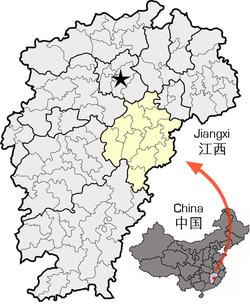 Location of Fuzhou City in Jiangxi