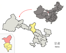Location of Minqin within Gansu (China).png