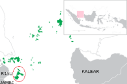 Red Circle is Lingga Islands, south of Riau Archipelago, part of Riau Islands province (green)