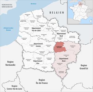 Arrondissement of Saint-Quentin - Image: Locator map of Arrondissement Saint Quentin