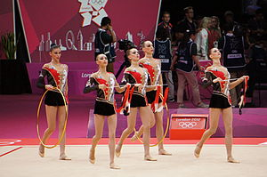 Ukraine at the 2012 Summer Olympics - Ukraine performs the hoop and ribbon routine in team-all around rhythmic gymnastics.