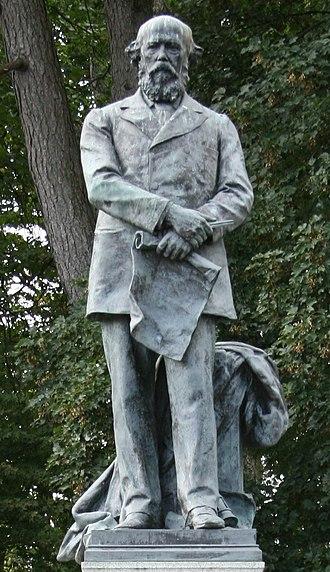 William Lewis, 1st Baron Merthyr - Sculpture by Thomas Brock at Aberdare Park