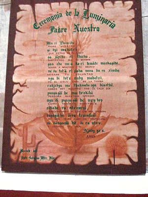 Hidalgo (state) - Lord's Prayer written in Spanish and Otomi at the Church of San Miguel in Ixmiquilpan