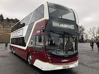 Lothian Buses - One of Lothian's new 100 seat Enviro400XLB buses on display at Edinburgh Castle esplanade.