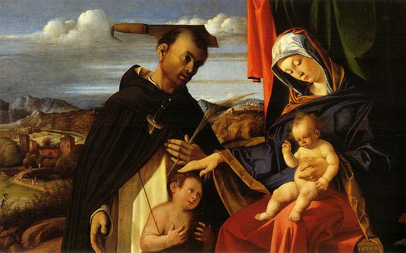 Файл:лото, Мадонна col бамбино, Сан-Пьетро martire e ООН donatore.jpg