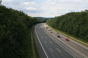 Bundesautobahn 45 - A 45 near Lüdenscheid view north