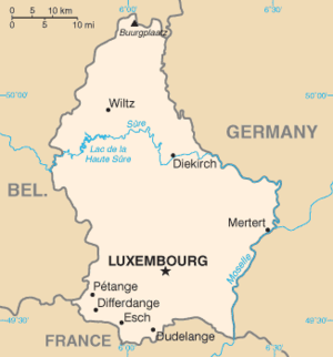 German occupation of Luxembourg during World War II - Map of Luxembourg