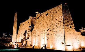 Luxor, Luxor Temple, front view at night, Egypt, Oct 2004.jpg