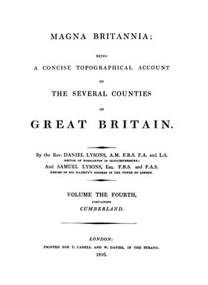 Magna Britannia - Title page of Volume 4 (Cumberland)