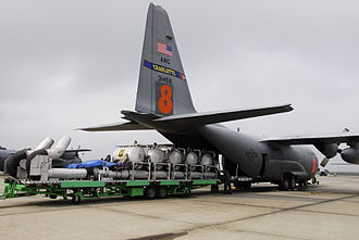 Modular Airborne FireFighting System - A MAFFS I unit about to be loaded into a C-130 in North Carolina in 2008.