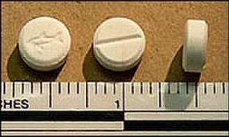 Meta-Chlorophenylpiperazine - Tablets containing mCPP confiscated by the DEA in Vernon Hills, Illinois.
