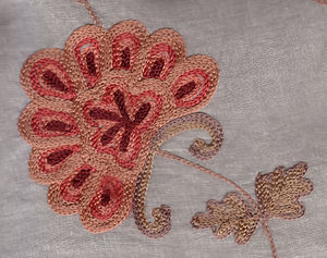 Chain stitch - Machine embroidery in chain stitch on a voile curtain, China, early 21st century.