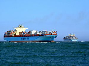 Maersk Sofia p02 approaching Port of Rotterdam, Holland 04-Aug-2007.jpg