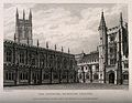 Magdalen College, Oxford; cloisters. Line engraving by J. Le Wellcome V0014124.jpg