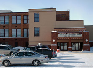 Detroit Lakes, Minnesota - Main entrance to the Historic Holmes Theatre in winter