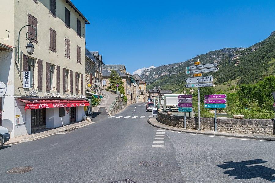 Main street in Les Vignes, Lozère, France