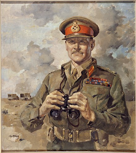 A portrait of Freyberg, executed by Peter McIntyre, an official war artist of the 2NZEF Major General Sir Bernard Cyril Freyberg VC (16160704063).jpg