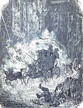A depiction of Weir's coach careering down the West Bow at midnight Major Weir's coach in the West Bow.jpg