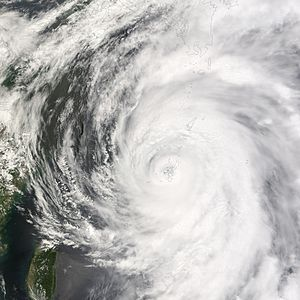 2007 Pacific typhoon season - Typhoon Man-yi over Okinawa