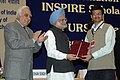 Manmohan Singh presented INSPIRE Scholarship at the launching ceremony of the INSPIRE- Innovation of Science Pursuit for Inspired Research, a scholarship programme of the Department of Science & Technology, in New Delhi (1).jpg