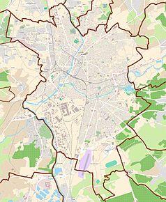 "Mapa konturowa Le Mans, na dole znajduje się punkt z opisem ""Circuit de la Sarthe"""