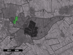 The village centre (dark green) and the statistical district (light green) of Middelburg in the municipality of Reeuwijk.