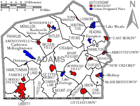 Map of Adams County with Municipal Labels showing Boroughs (red), Townships (white), and Census-designated places (blue) Map of Adams County Pennsylvania With Municipal and Township Labels.png
