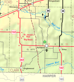 KDOT map of ClarkMarion County (legend)