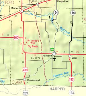 Minneola, Kansas - Image: Map of Clark Co, Ks, USA