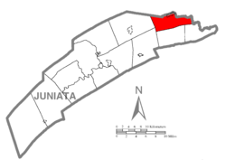 Map of Juniata County, Pennsylvania highlighting Monroe Township