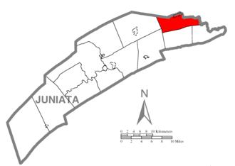 Monroe Township, Juniata County, Pennsylvania - Image: Map of Juniata County, Pennsylvania Highlighting Monroe Township