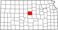 Map of Kansas highlighting Ellsworth County