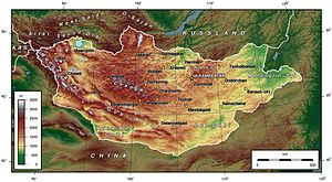 Central Asian Internal Drainage Basin - Topography of Mongolia