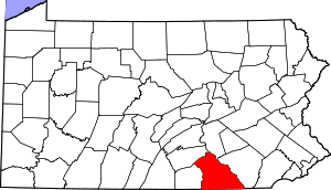 Map of Pennsylvania highlighting York County