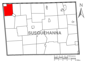 Apolacon Township, Susquehanna County, Pennsylvania - Image: Map of Susquehanna County Pennsylvania highlighting Apolacon Township