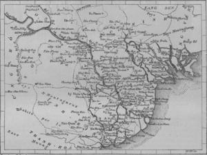 Tonkin - 1873 map of Tonkin region and northern Vietnam.