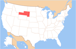 Map of the United States with Absaroka highlighted