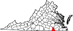 State map highlighting Greensville County