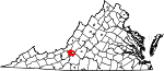State map highlighting Roanoke County